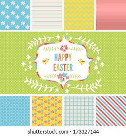 Scrapbook Design Elements: easter and spring set with seamless patterns and label.