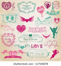 Scrapbook Design Elements - Valentine's Day Love Set - for wedding, invitation, scrap - in vector