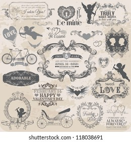 Scrapbook Design Elements. Vintage Valentine's Love Set in vector