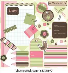 Scrapbook and diary elements, vector