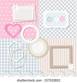 Scrapbook elements and a set of seamless backgrounds