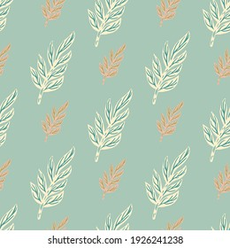 Scrapbook seamless pattern with white contoured and pink leaf branches elements. Blue pastel background. Designed for fabric design, textile print, wrapping, cover. Vector illustration.