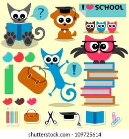 Scrapbook set school theme funny animals and elements