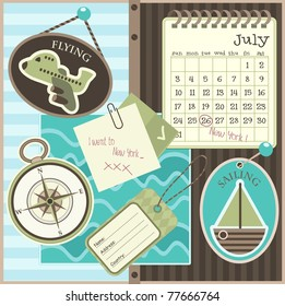 Scrapbook travel elements, vector