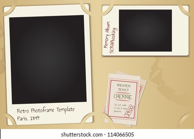 Scrapbooking page set - vector retro paper photo frames with background, theater tickets and coffee spots