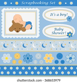 Scrapbooking set for baby boy. Design elements for your layouts or scrapbooking projects. Vector illustration.