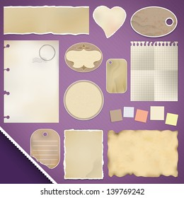 Scrapbooking Set: Torn Papers, tags, labels