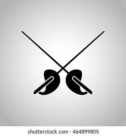 Scrape swords for fencing icon on the background