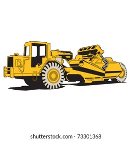 Scraper or heavy machinery for asphalt paving.