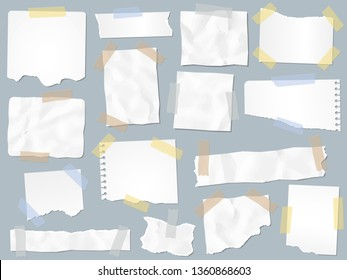 Scraps paper on adhesive tape. Vintage torn papers on sticky tapes, scrap pages frames and craft paper note page. Scrapbooking or ripped notebook page. Vector illustration isolated sign set