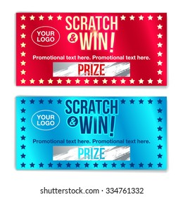 Scratch card game and win. With effect from scratch marks. vector
