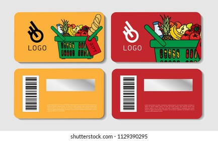 Scratch cards templates, for grocery store, advertisement, basket filled with food and beverages