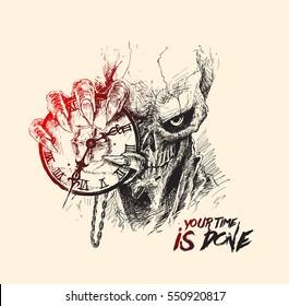 Scratch Devil Skull with clock - Vampire, Hand Drawn Skech Vector illustration.