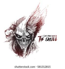 Scratch Devil Skull with lion face - Vampire, Hand Drawn Sketch Vector illustration.