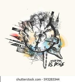 Scratch Devil Skull with urban city clock - Vampire, Hand Drawn Skech Vector illustration.