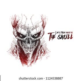 Scratch Devil Skull - Vampire Vector illustration.