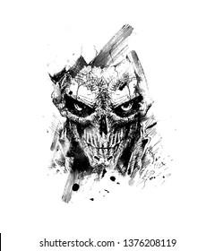 Scratch Devil Skull - Vampire Vector illustration.