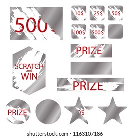 Scratch Games Cards with Effects Metallic Scrape Symbol of Prize, Lottery, Win, Reward or Luck. Vector illustration