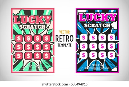 scratch off lottery card or ticket. Vector color design template