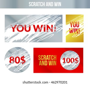 Scratch and win labels card. Scratch torn marks effect ticket. Winner concept lottery. Business design