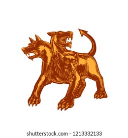"""Scratchboard style illustration of a Cerberus or """"hound of Hades"""", a multi-headed dog that guards the gates of the Underworld in Greek mythology done on scraperboard on isolated background."""