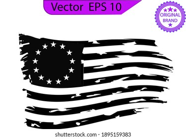 Scratched Betsy Ross Flag. Splash with USA flag. American splash flag.  Betsy Ross 1776 13 Stars Distressed US Flag.