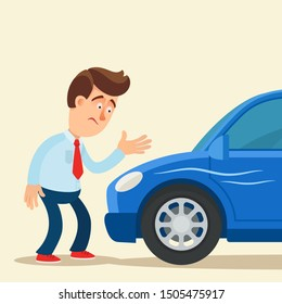 Scratched car. Disappointed driver standing near the car with scratches in the door and fender. Vector illustration, flat cartoon style. Isolated background.