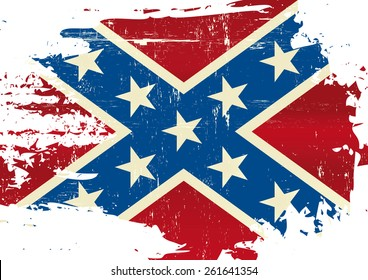 Scratched Confederate Flag. A Civil War flag with a grunge texture