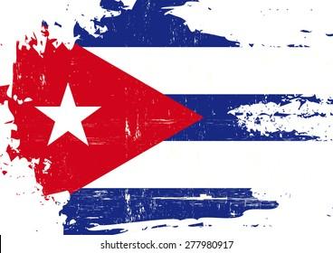 Scratched Cuban Flag. A cuban flag with a grunge texture