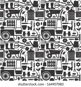 Scratched gardening related seamless pattern background 1
