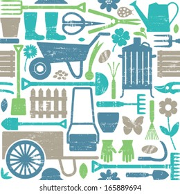 Scratched gardening related seamless pattern background 3
