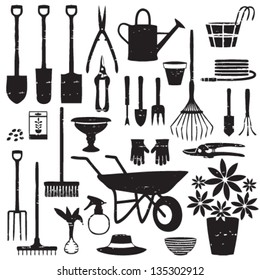 Scratched gardening related silhouettes