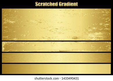 Scratched gold chrome metal texture vector icon set. Shiny golden brushed vector metallic gradient background for banner, label, medal, button. Grunge gold vintage abstract chrome gradient collection