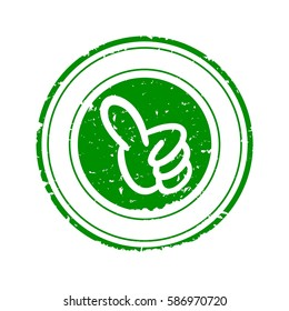 Scratched Green round seal with his thumb up - vector