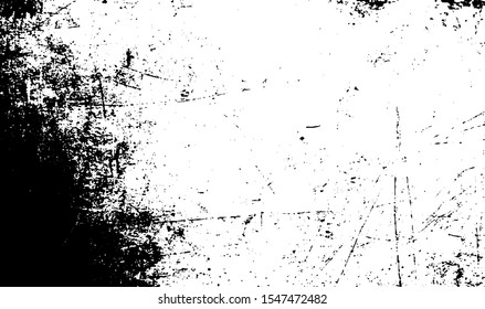 Scratched Grunge Background Texture Vector. Dust Overlay Distress Grainy Grungy Effect. Distressed Backdrop Vector Illustration. Isolated Black on White Background. EPS 10.