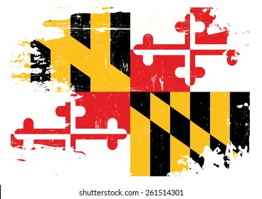 Scratched Maryland Flag. A flag of Maryland with a grunge texture