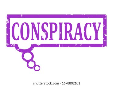 Scratched purple stamp with the word conspiracy