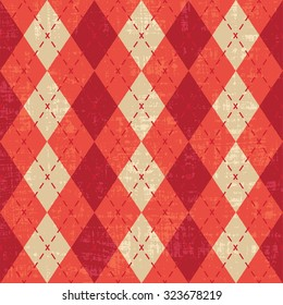 Scratched red and orange argyle pattern inspired vector background