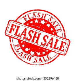 Scratched red round seal with the inscription - Flash sale - vector