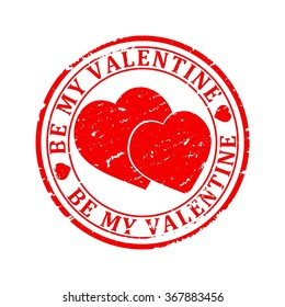 Scratched red round seal with the inscription - be my valentine - vector
