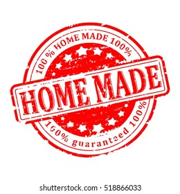 Scratched red round seal with the inscription - home made - Vector