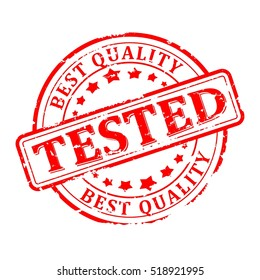 Scratched red round seal with the inscription - tested, the best quality - Vector