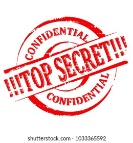 Scratched red round stamp with the inscription - Top Secret - Confidential - vector