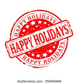 Scratched red round stamp with the words - happy holidays - vector