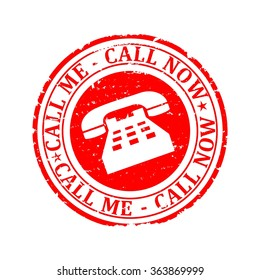 Scratched red round stamp with the words - call me, call now - vector