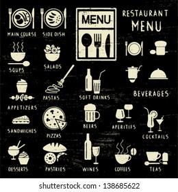 Scratched restaurant menu elements on blackboard