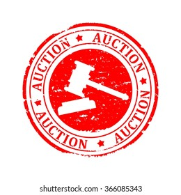 Scratched round red stamp with the inscription mallet - Auction - vector