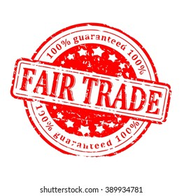 Scratched round red stamp with the word - fair trade - vector