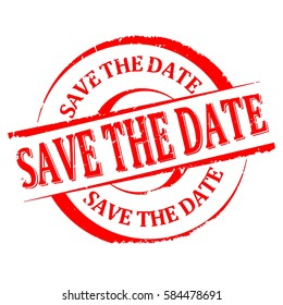 Scratched round red stamp with the word - save the date - Vector