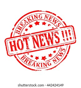 Scratched round red stamp with the words - hot news, breaking news - vector